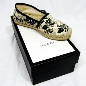 Gucci-  Black and White Floral Espadrilles